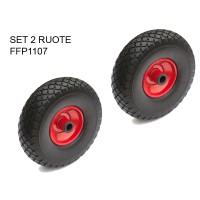 Set 2 ruote antiforatura per carrelli nucleo lamiera a rullini
