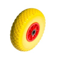 Set 2 ruote antiforatura gialle 3.00-4 per carrelli nucleo plastica foro liscio