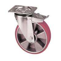 Ruote con nucleo in alluminio e rivestimento in poliuretano con supporto pesante girevole con freno