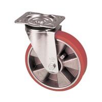 Ruote con nucleo in alluminio e rivestimento in poliuretano con supporto pesante girevole